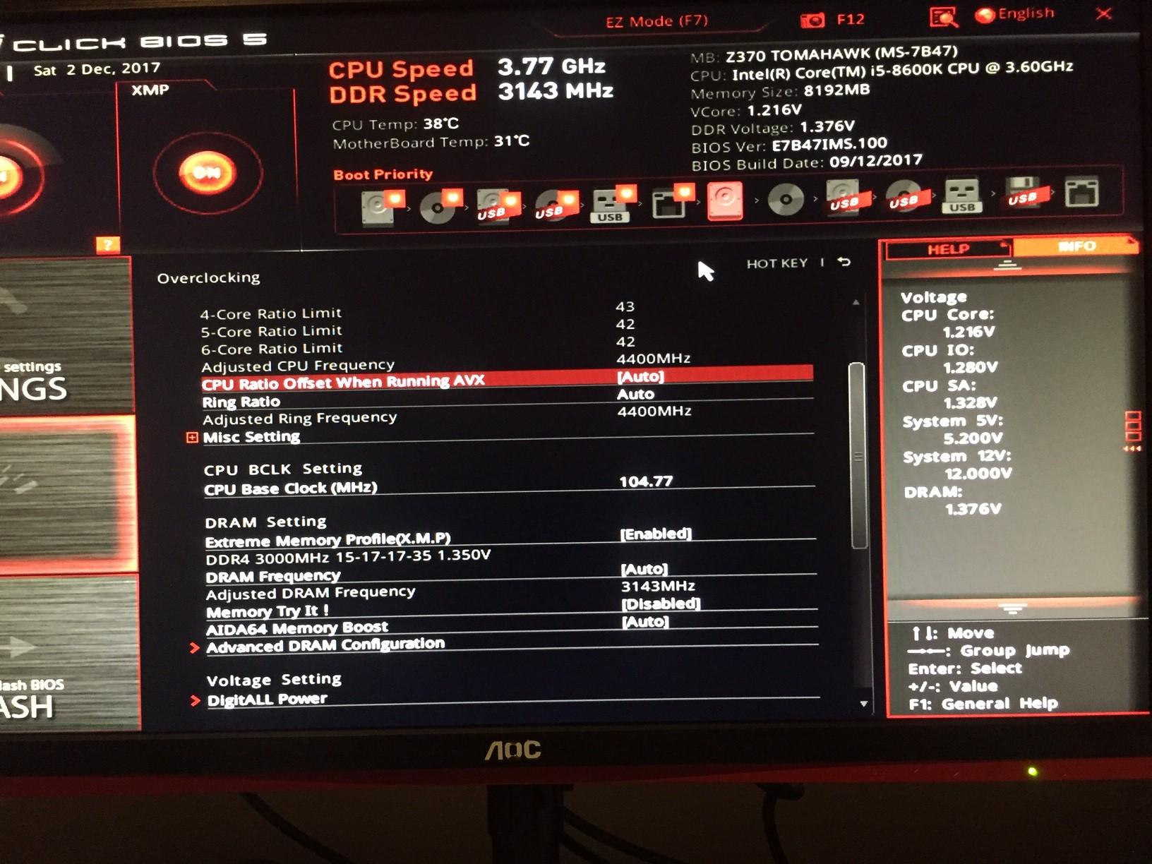 Msi Z370 Tomahawk I5 8600k