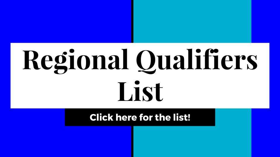 Regional Qualifiers List 1