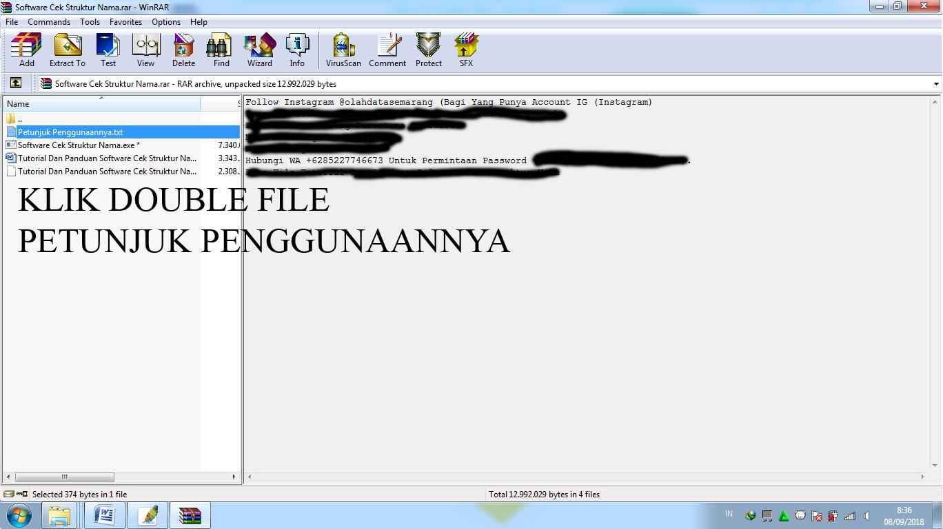 Software Cek Struktur Nama Aplikasi Yang Mirip ARKAND SCS (Secret Codes Site)