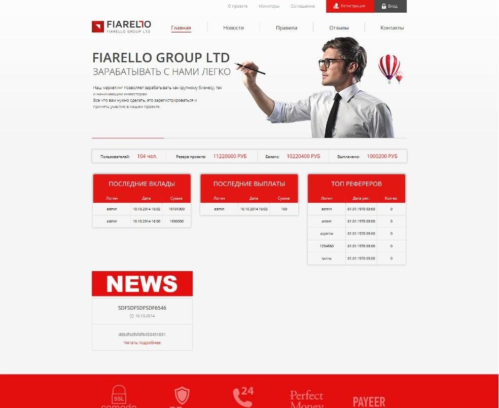 Скрипт инвестиционного HYIP проекта Fiarello-Group