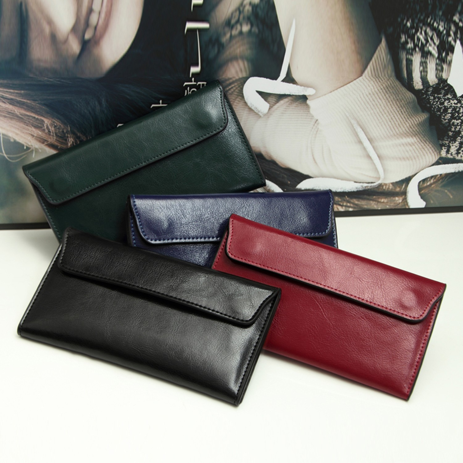 410436dc8ef3 Details about Genuine Leather Women Wallet Long Thin Purse Clutch Cowhide  Cards Holder Fashion