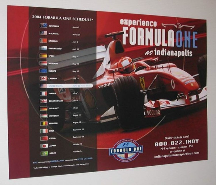 2004 F1 SCHUMACHER FERRARI GRAND PRIX USA RACE POSTER