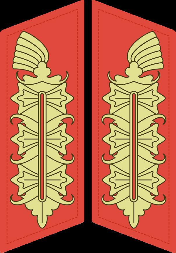 Los parches de Mariscal de campo, con los tres bordados o arabescos dorados sobre fondo escarlata