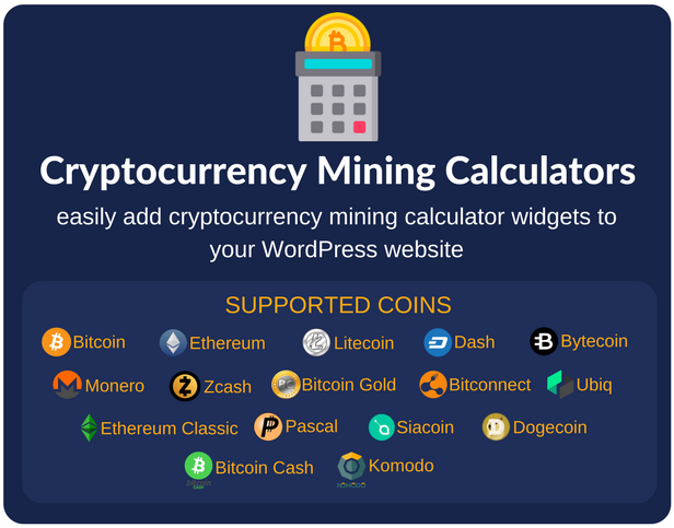 Cryptocurrency Mining Calculators For WordPress - 1