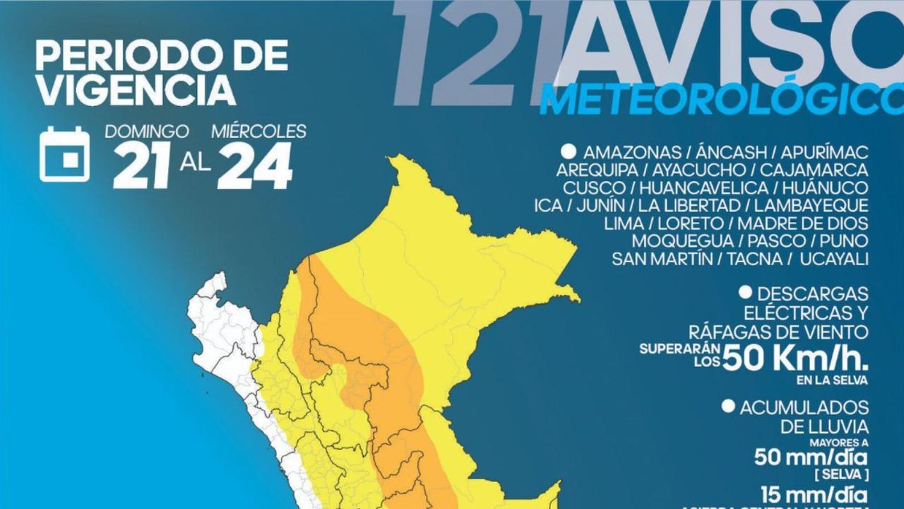 Lluvias de moderada a fuerte intensidad desde hoy al miércoles en 22 regiones