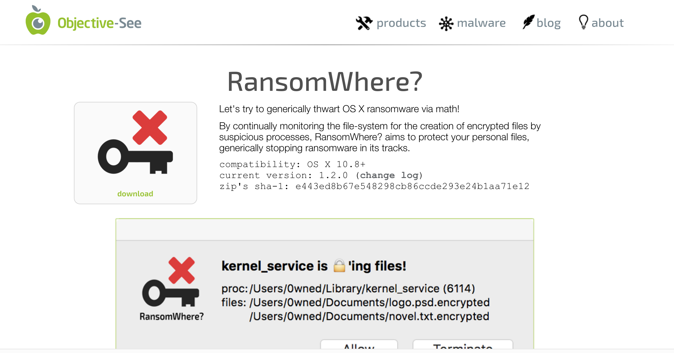 RansomWhere? Main Page screenshot