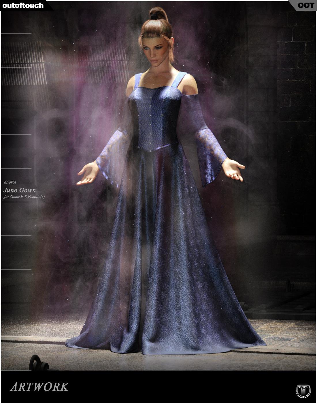 dForce June Gown for Genesis 8 Females