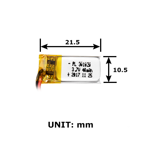 battery lipo 40 mah 3 7v